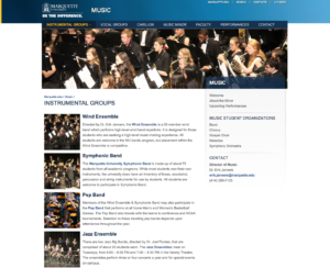 New Marquette Music Website
